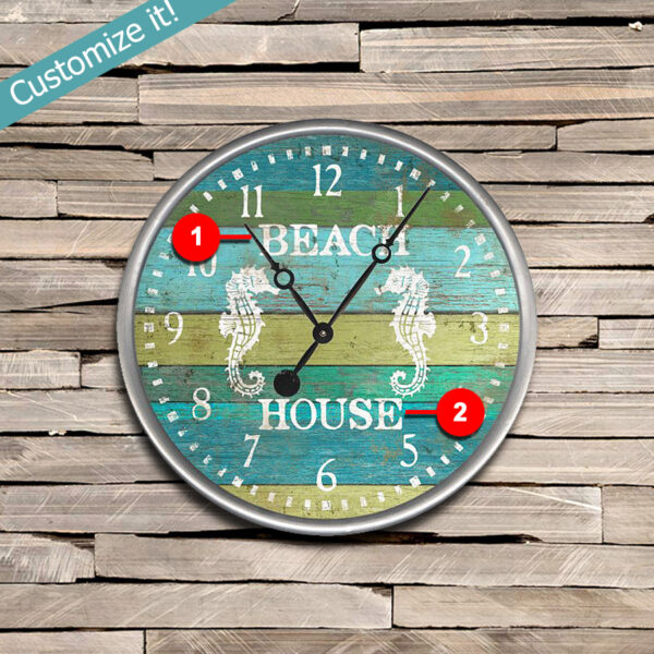 Sea Horse Beach Clock, Coastal Decor, Beach House Decor