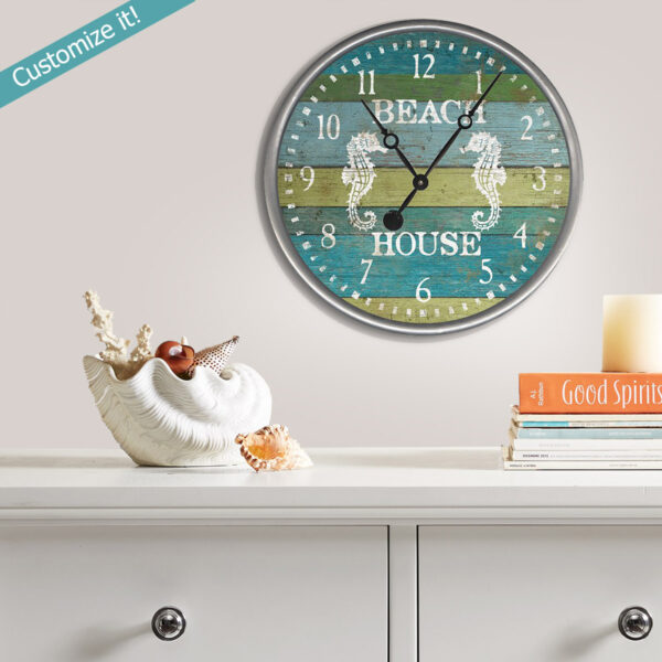 Custom Clock, Sea Horse Clock, Nautical Coastal Decor
