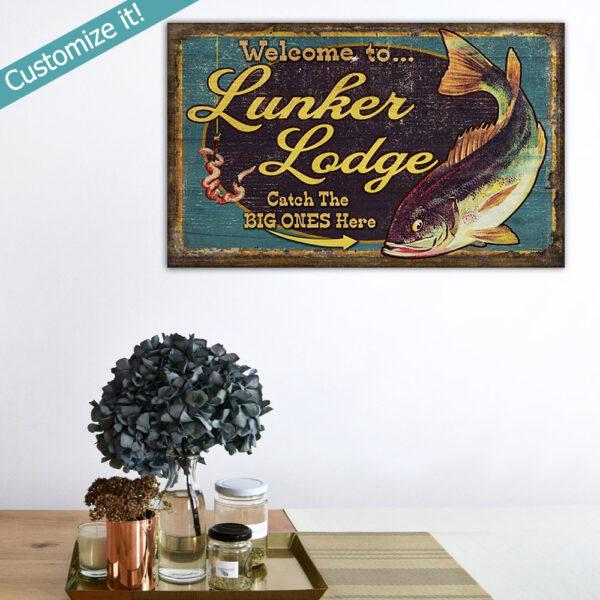 Custom bass fishing sign, home decor, cabin wall art for fisherman