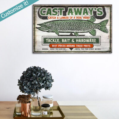 Personalized Fishing Poster, Retro Pickerel Wall Art, Bait Tackle Shop
