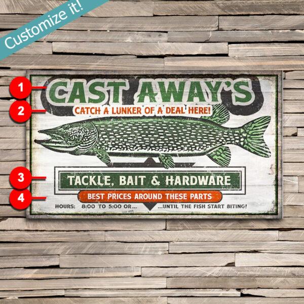 Custom Gift for Fisherman, Retro Vintage Sign