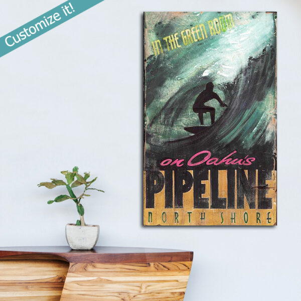 Banzai Pipeline Surf Sign, Vintage North Shore Surfing Sign, Personalized Wall Art for Surfers