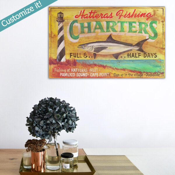Beach House Wall Art, personalized nautical poster sign fishing deap sea charter