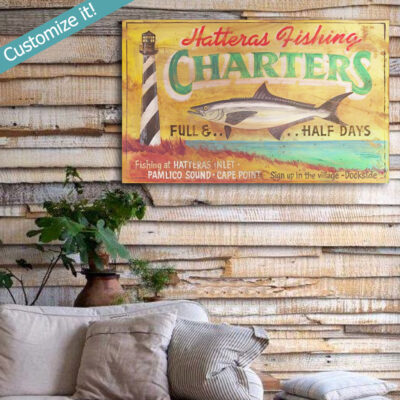 Personalized Hatteras Outer Banks Fishing SIgn, Beach House Decor