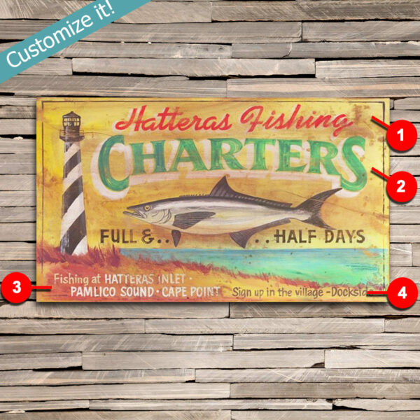 custom deep see fishing sign, Outer Banks fishing charter poster