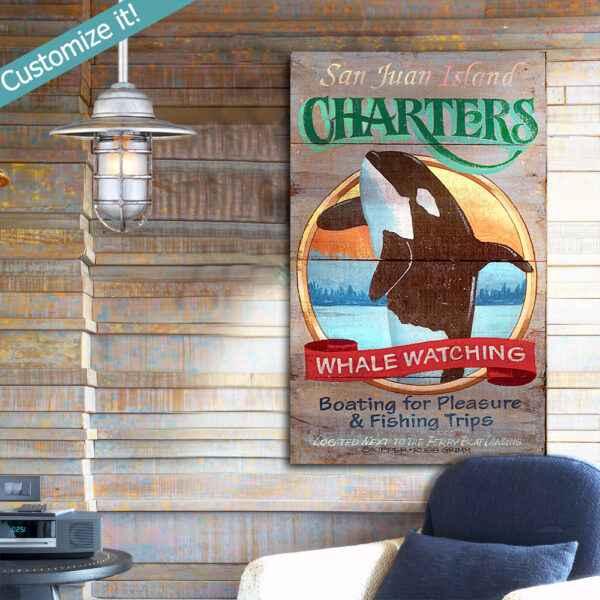 Vintage Whale Watching Sign, Beach House Decor