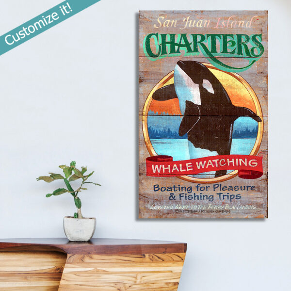 Personalized Whale Watching Poster, Wooden Vintage Sign with Whale Jumping