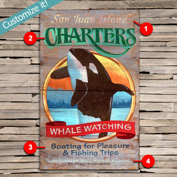 Custom Whale Watching Sign, Personalized Nautical Decor