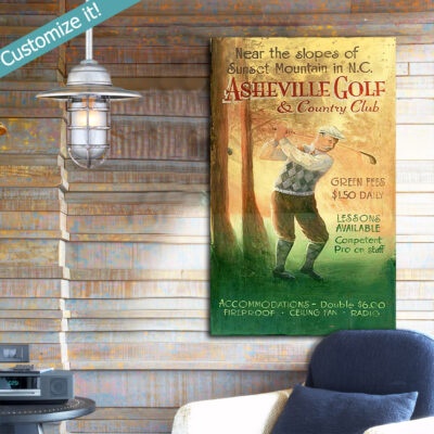 Personalized Wooden Golf SIgn, Vintage Golfing Gift