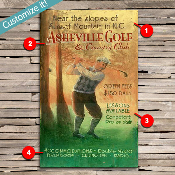 Custom Vintage Golf Sign, Personalize Gift for Golfers