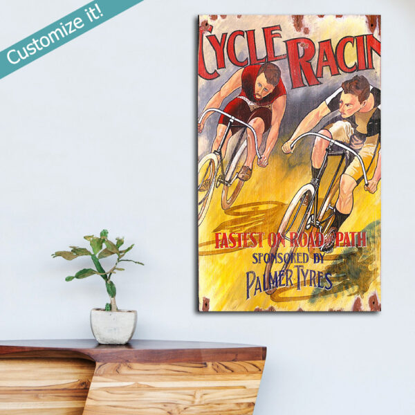 Wooden Cycling Sign, Vintage Art printed on Wood, Bicycle Racing