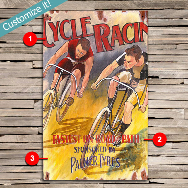 Custom Cycling Wall Art, Vintage Cycling Art printed on wood