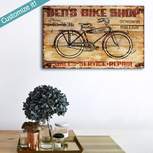 Bike Shop Vintage Sign, Wooden Bicycle Wall Art, Poster