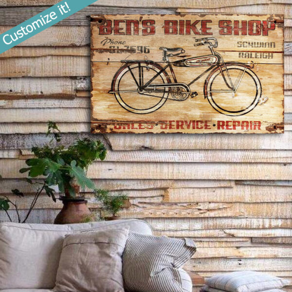 Personalized Bike Shop Wall Art, Wooden Bicycle Repair Service Decor