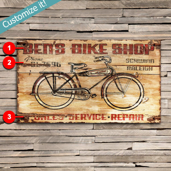 Custom Bike Shop Wall Art, Vintage Bicycle Repair Wooden Sign
