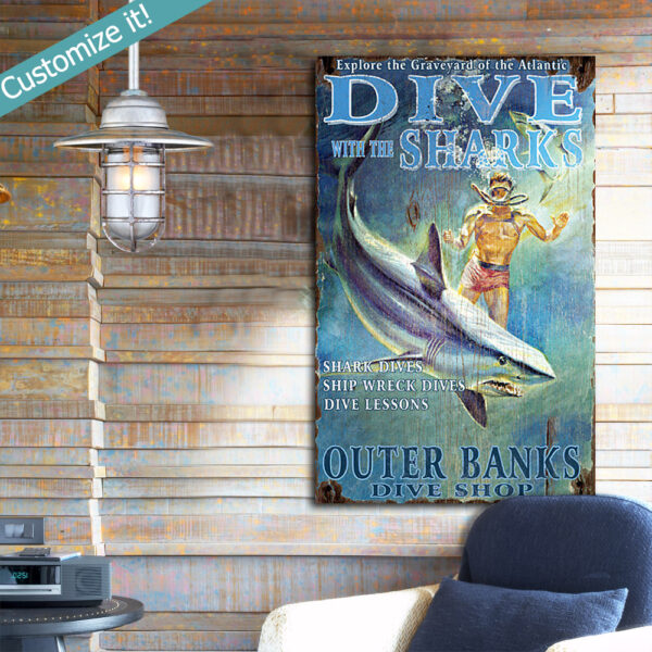 Personalized Scuba Diving Wooden Sign, Diving with Sharks, Shark Art