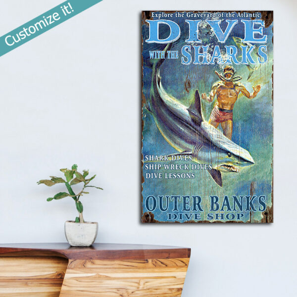 Vintage Scuba Diving Wall Art, Diving With Sharks wooden Sign