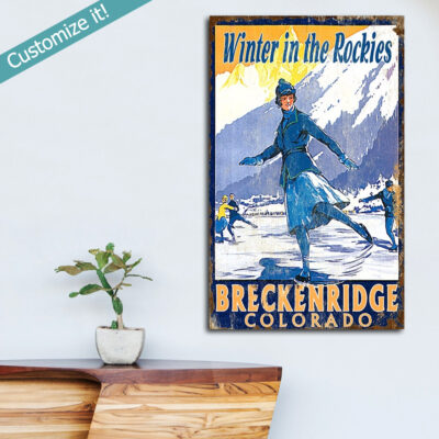 Personalized Ice Skating Wooden Sign, Skating in Breckenridge Wall Art Poster on Wood