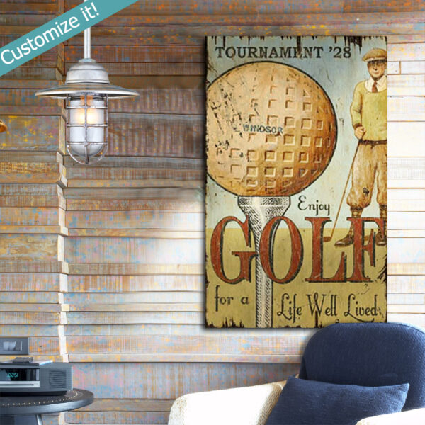 Personalized Wood Golf Tee SIgn, Vintage Golfing Gift