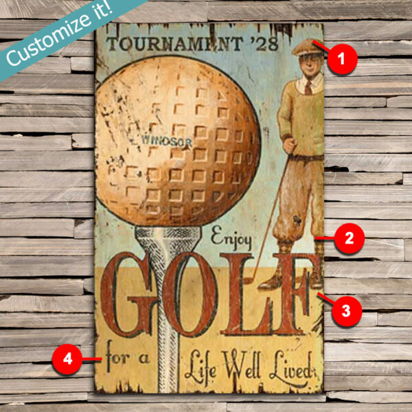 custom golf course tee vintage sign