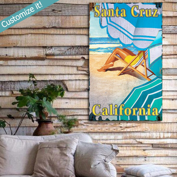Personalized Beach House sign - Santa Cruz Californa