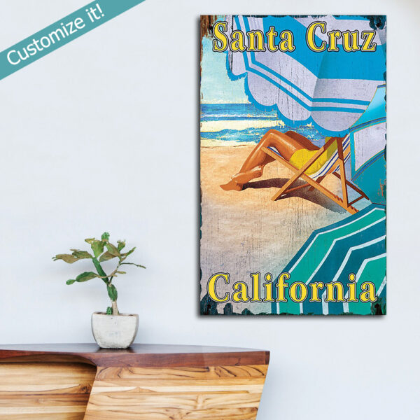 Personalized Santa Cruz Beach Wood Sign, Beach House Decor - Beach Umbrella