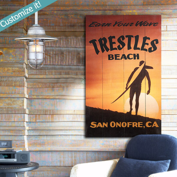 Lower Trestles Surf Report, Wooden Surfing Sign, Personalized, Custom Text