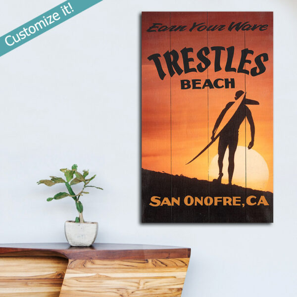 Trestles Surfing Poster printed on Wood, Personalized Gift for Surfers