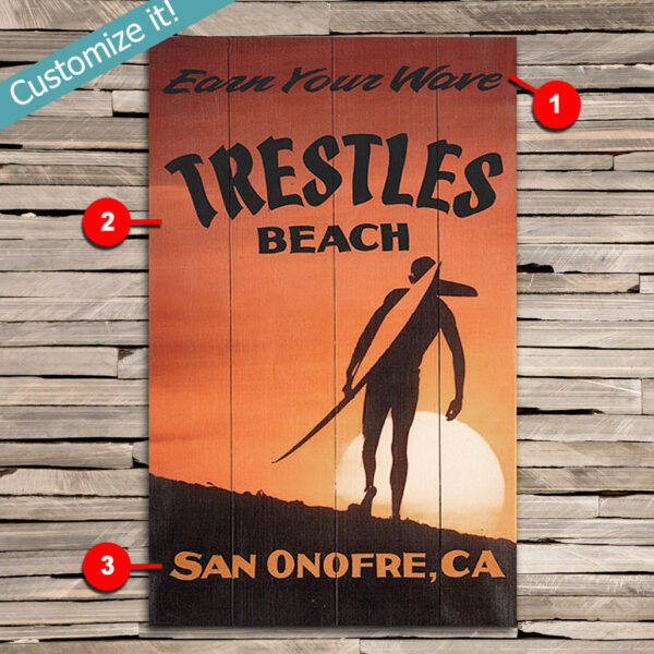 Custom Trestles Surfing Sign, Personalized Surfing Wall Art Poster