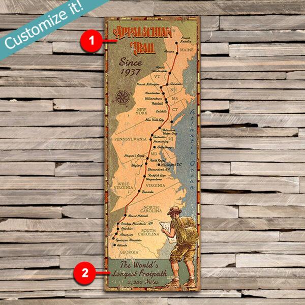 Custom Hiking Appalachian Trail Map Sign, Trail Map art printed on Wood