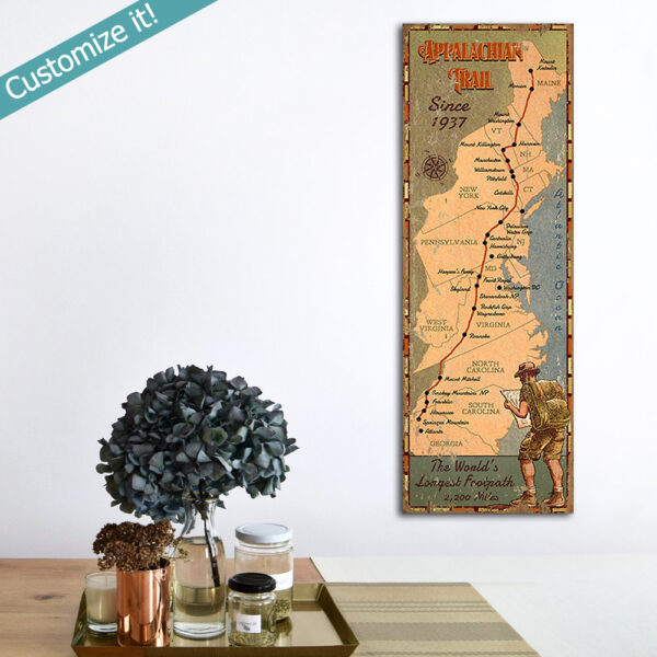 Personalized Appalachian Trail Map Wood Sign, Gifts for Hikers, Hiking poster printed on wood