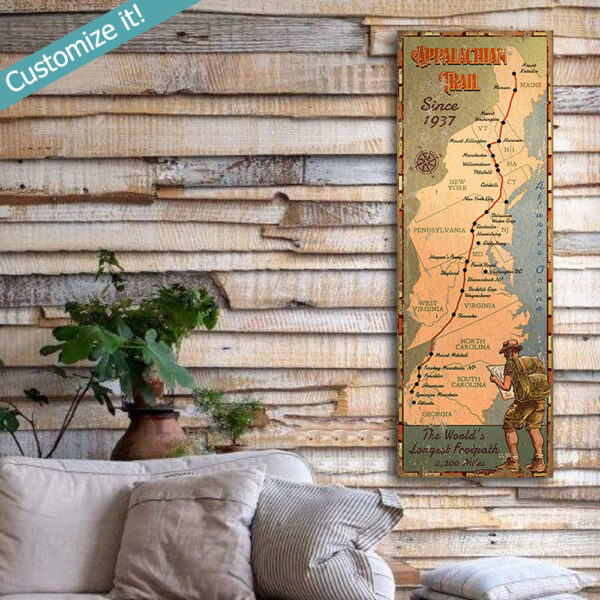 appalachian trail map sign printed on wood, hiking art, cabin decor, lake house decor