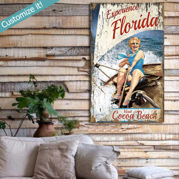 Personalized Florida Sailing Wooden Sign, Vintage Beach House Decor, Wall Art