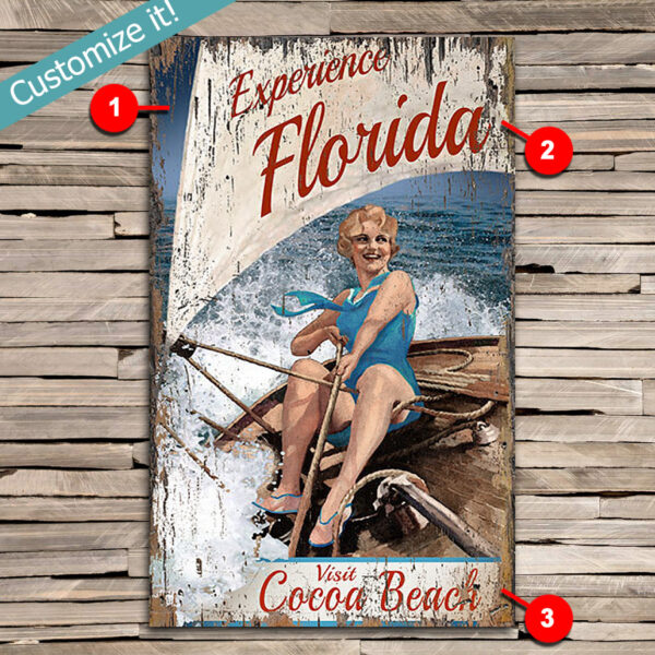 Custom Sailing Cocoa Beach Vintage Sign