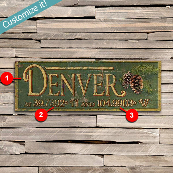 Custom Personalized Your Town Wooden Sign