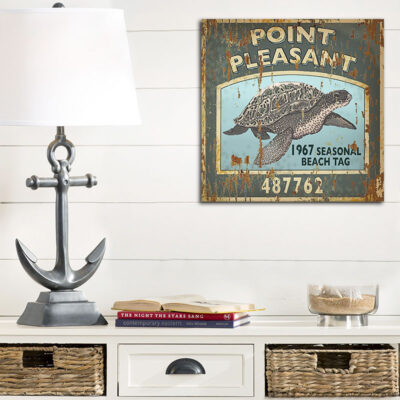Custom Sea Turtle Vintage Beach Tag Sign