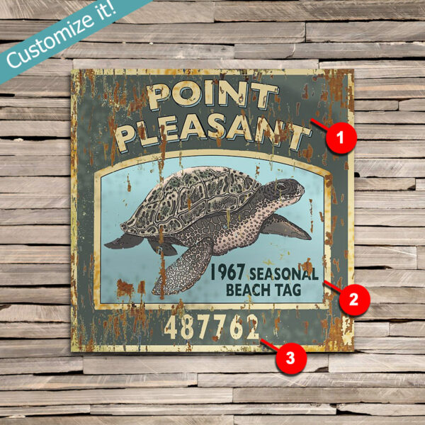 custom Point Pleasant Jersey Shore Sea Turtle Beach Tag