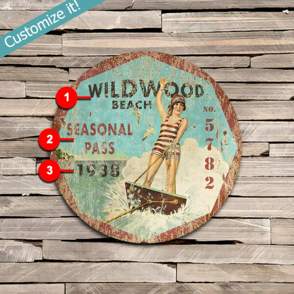 Custom Wildwood NJ Beach Season Pass Sign, Nautical Decor, Jersey Shore