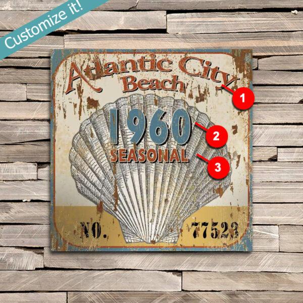 Atlantic City New Jersey Beach Pass Sign, Nautical Sea Shell Decor
