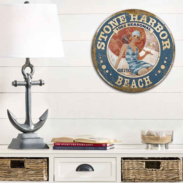 Personalized Stone Harbor Beach Pass Sign, Jersey Shore wall art, Beach House Decor