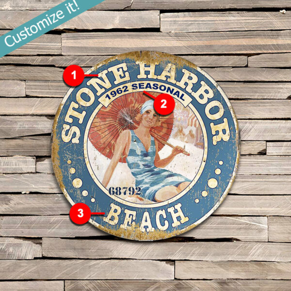 Stone Harbor NJ Personalized Beach Pass Sign, Jersey Shore, Nautical Poster on Wood