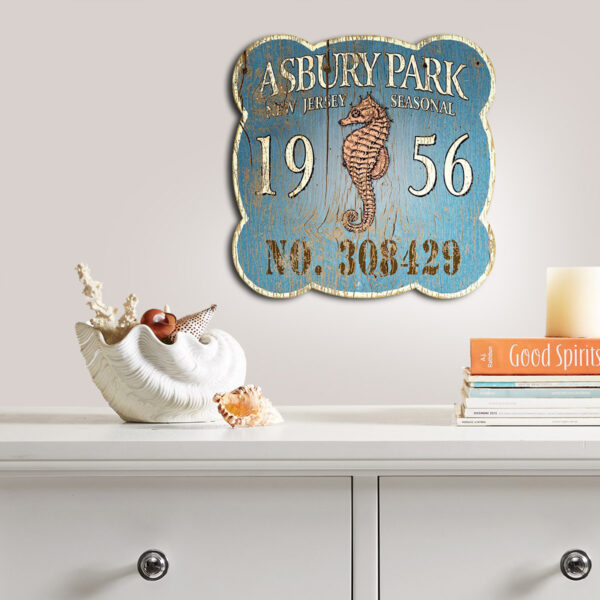 Asbury Park Jersey Shore Beach Badge, Nautical Wall Art, Seahorse Decor