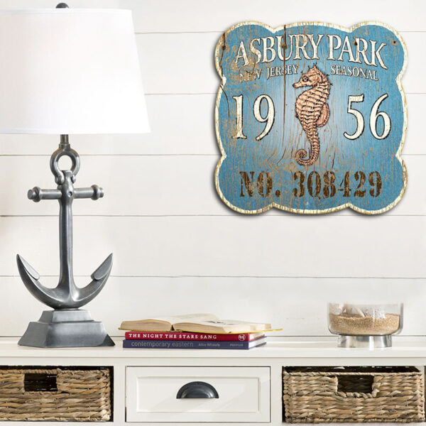 Personalized Seahorse Nautical Decor, Asbury Park NJ Beach Badge Sign