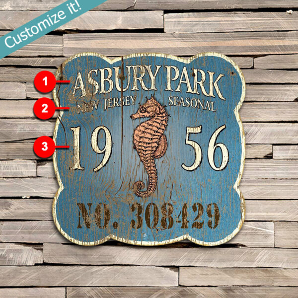 Custom Asbury Park Seahorse Beach Badge, Nautical Wall Art