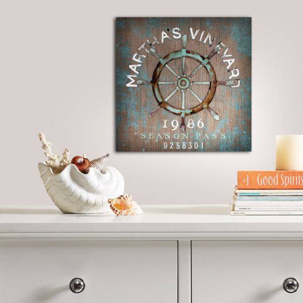 Martha's Vineyard Nautical Wall Art with Ship Steering Wheel, Vintage SIgn, Beach House Decor
