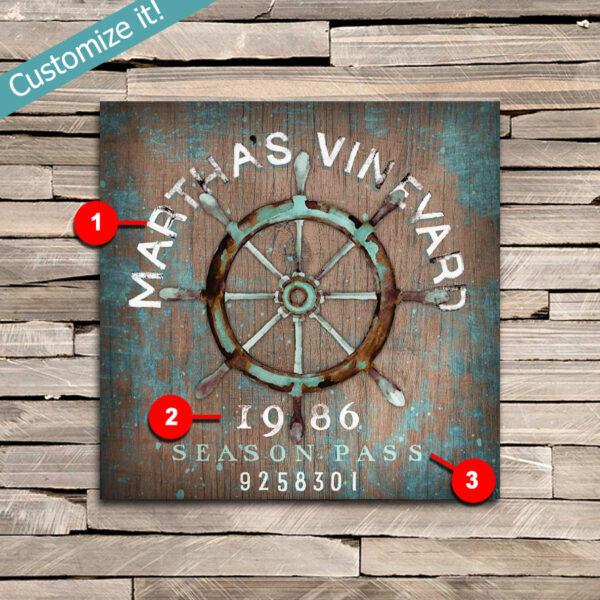 Martha's Vineyard Beach Decor, Personalized Beach Pass Sign