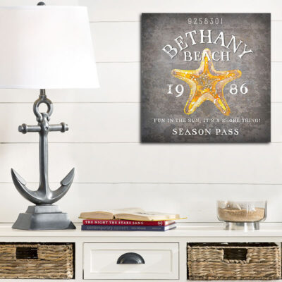 Personalized beach house decor, starfish wall art, Bethany Beach Delaware