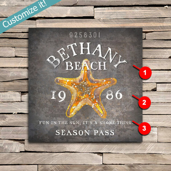 Custom Starfish Wall Art printed on Wood, Personalized Sign with a starfish