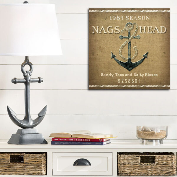 Personalized Ship Anchor Wooden Sign, Beach House Decor with Nag's Head Outer Banks