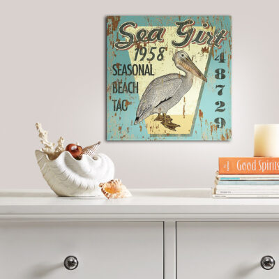 Custom Sea Gull Nautical Wall Art, Sea Girt NJ Beach Badge at the Jersey Shore